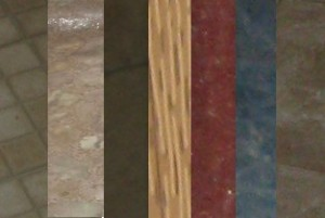 samples of the linoleum found throughout the house