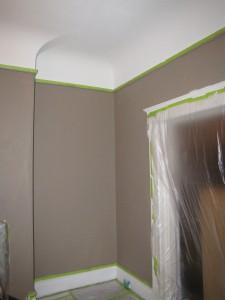 sweet progress. No that isn't green trim--it's painter's tape.