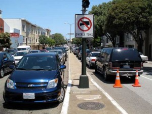 Yes, those cars are parked in a lane of traffic. Photo credit sf.streetsblog.org.