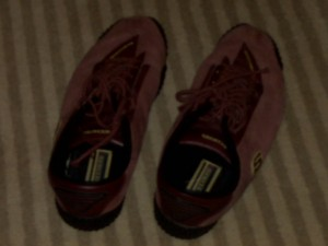 They may not be slippers, but they are red. Perhaps if I click my heels in them I'll be home again.